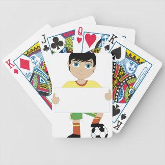 Muchacho del fútbol barajas de cartas