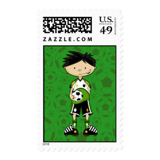 Muchacho del fútbol que lleva a cabo el sello de l