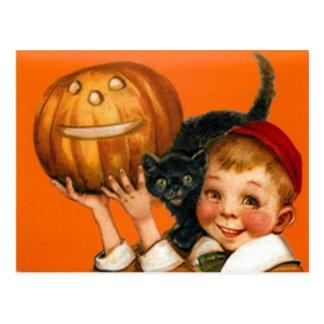 Muchacho del gato negro de la calabaza de la linte tarjeta postal