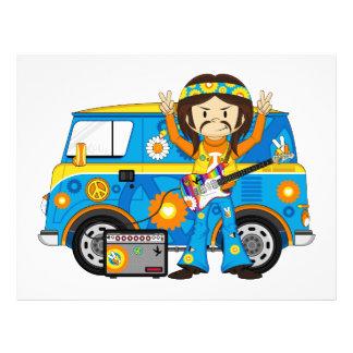 """Muchacho del Hippie con la guitarra y la Folleto 8.5"""" X 11"""""""