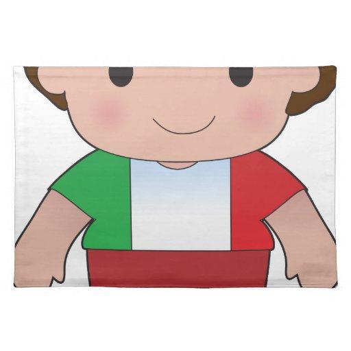 Muchacho del italiano de la amapola manteles individuales