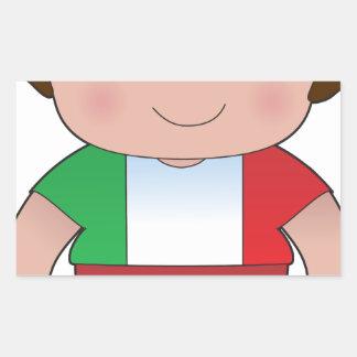 Muchacho del italiano de la amapola pegatina rectangular