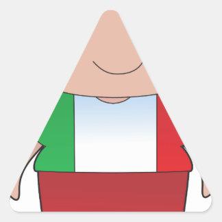 Muchacho del italiano de la amapola pegatina triangular