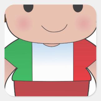 Muchacho del italiano de la amapola pegatina cuadrada