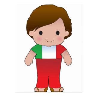 Muchacho del italiano de la amapola postales