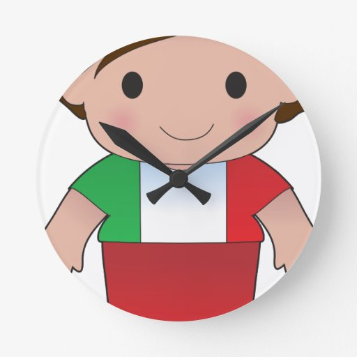 Muchacho del italiano de la amapola reloj de pared