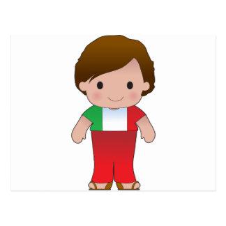 Muchacho del italiano de la amapola tarjeta postal