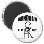 Muchacho del juego de la mandolina imanes de nevera