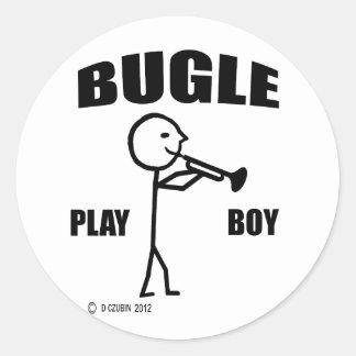 Muchacho del juego del bugle pegatina redonda