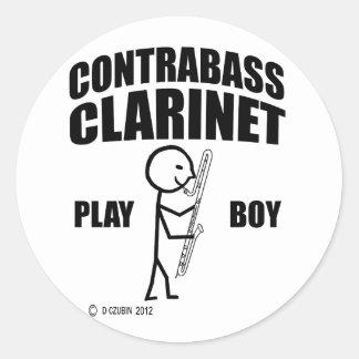 Muchacho del juego del Clarinet del Contrabass Pegatina Redonda