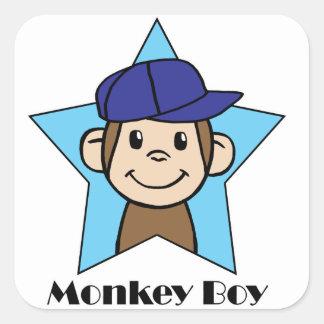 Muchacho del mono pegatina cuadrada