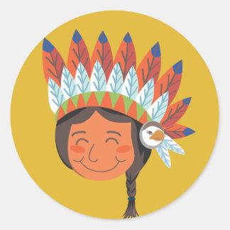 Muchacho del nativo americano pegatina redonda