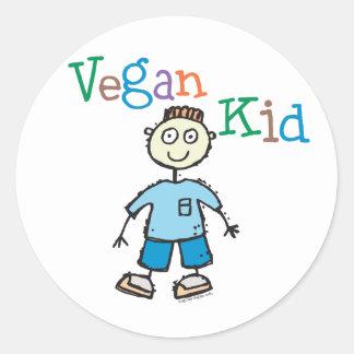 Muchacho del niño del vegano pegatina redonda