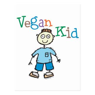 Muchacho del niño del vegano postal