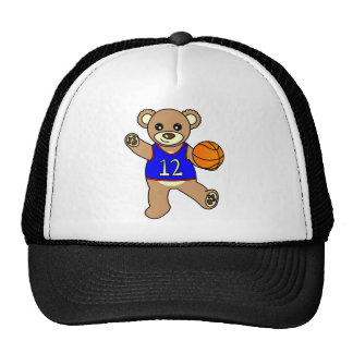 Muchacho del oso de peluche del baloncesto - azul gorra