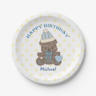 Muchacho del oso de peluche del cumpleaños plato de papel de 7 pulgadas