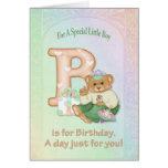 Muchacho del oso del cumpleaños - personalizar tarjetas