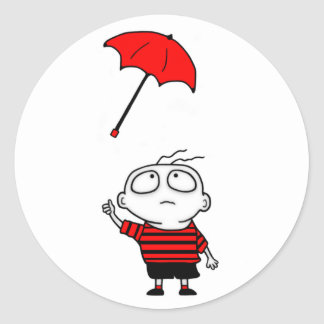 Muchacho del paraguas pegatina