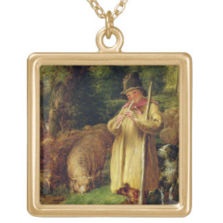 Muchacho del pastor, 1831 (aceite en el panel) colgante cuadrado