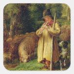 Muchacho del pastor, 1831 (aceite en el panel) calcomanías cuadradass