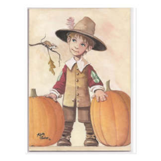muchacho del peregrino con las calabazas tarjetas postales