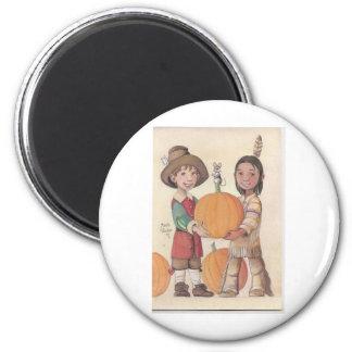 muchacho del peregrino y muchacho indio imán redondo 5 cm