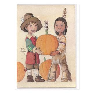 muchacho del peregrino y muchacho indio tarjetas postales