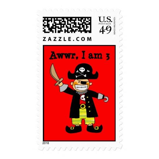 muchacho del pirata de 3 años franqueo