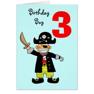 muchacho del pirata de 3 años tarjeta de felicitación