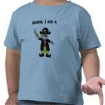 muchacho del pirata de 4 años camiseta