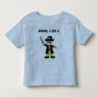 muchacho del pirata de 4 años playera