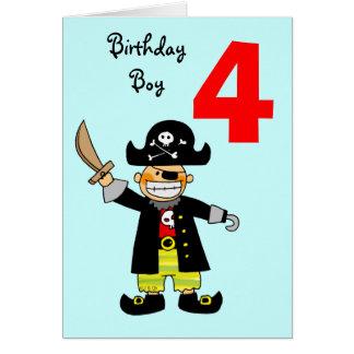 muchacho del pirata de 4 años tarjeta de felicitación