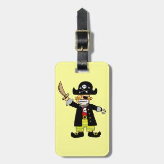 muchacho del pirata etiqueta para maleta