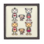 Muchacho del robot, chica del robot, perro del rob cajas de joyas de calidad