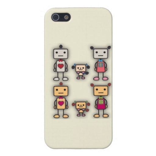 Muchacho del robot, chica del robot, perro del rob iPhone 5 funda