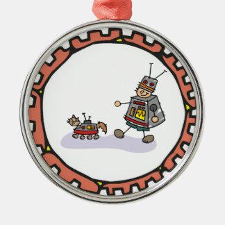 Muchacho del robot con las ilustraciones del gato adorno navideño redondo de metal