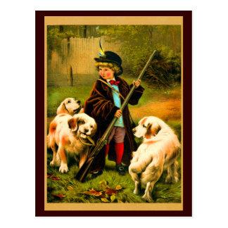 Muchacho del Victorian y perros de St Bernard Tarjetas Postales