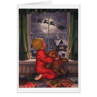 Muchacho del vintage que mira a Papá Noel volar Tarjeta De Felicitación