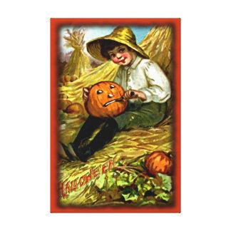 Muchacho del vintage que talla la lona de Hallowee Lienzo Envuelto Para Galerías