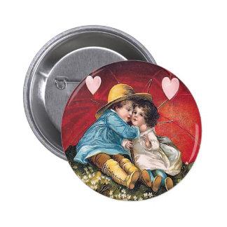 Muchacho del vintage y botón redondo de la tarjeta pins