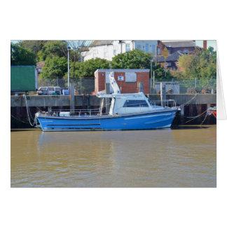 Muchacho Ellis del barco del mar que pesca con Tarjeta De Felicitación