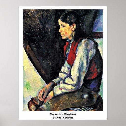 Muchacho en chaleco rojo de Paul Cezanne Póster