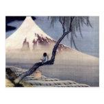 Muchacho en el monte Fuji, Hokusai Tarjetas Postales
