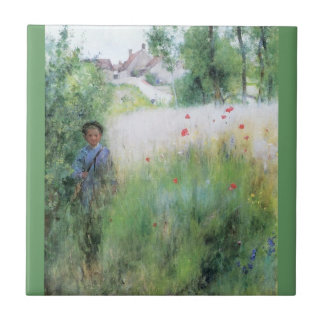 Muchacho en el prado azulejo cuadrado pequeño