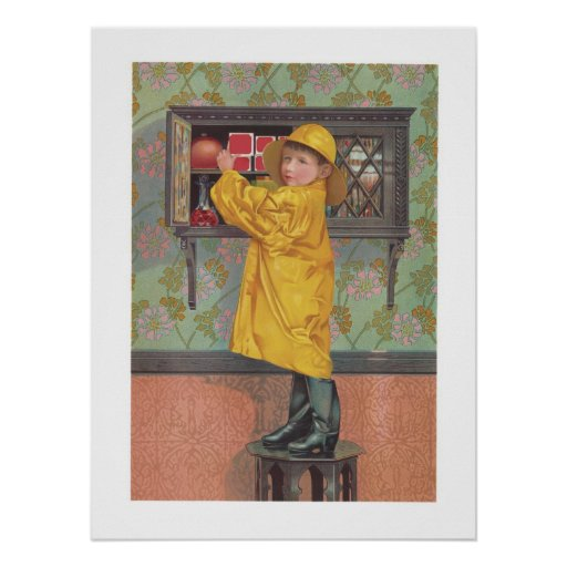 Muchacho en impermeable posters