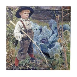 Muchacho en la pintura del jardín de la col azulejo cuadrado pequeño