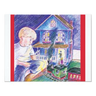 Muchacho en mundo del juguete invitación 10,8 x 13,9 cm