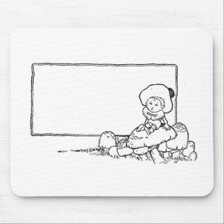 Muchacho en seta tapete de ratones