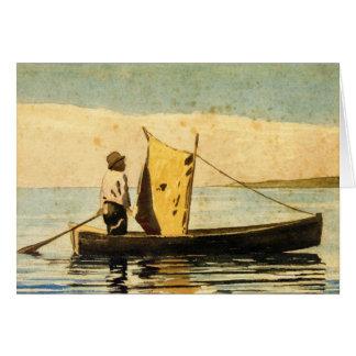 Muchacho en un bote pequeño felicitacion