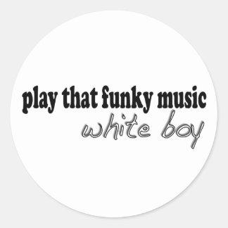 Muchacho enrrollado del blanco de la música etiquetas redondas